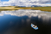 Raft fly fishing on Leviathan Lake in Colorado.