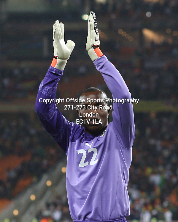 23/06/2010 - 2010 FIFA World Cup - Ghana vs. Germany - Ghana goalkeeper Richard Kingson applauds the support - Photo: Simon Stacpoole / Offside.