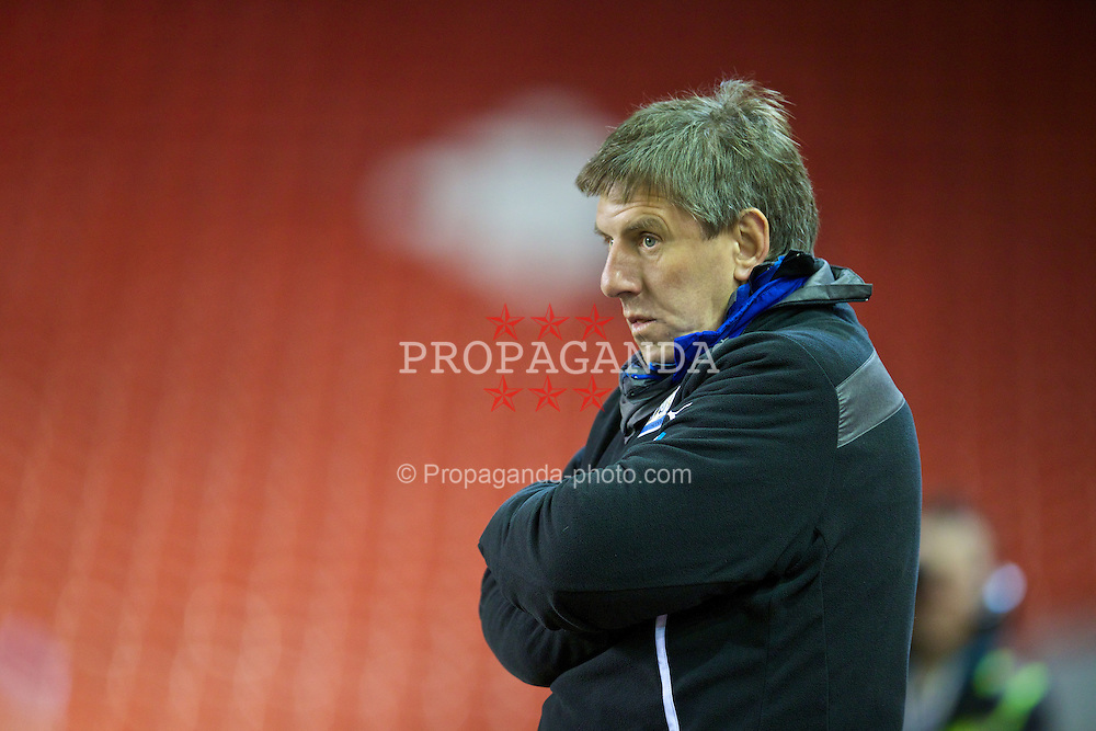 LIVERPOOL, ENGLAND - Friday, March 21, 2014: Newcastle United's manger Peter Beardsley during the Under 21 FA Premier League match against Liverpool at Anfield. (Pic by David Rawcliffe/Propaganda)