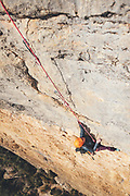 Rab climbing athletes Jacob Cook and Bronwyn Hodgins enjoying a multi pitch climbing route in Vilanova de Meia, Spain