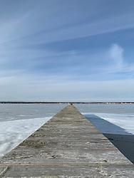 Wooden dock in the Winter