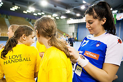 Maja Son with fans after the handball match between Women National teams of Slovenia and Serbia in 2nd Round of Qualifications for 2014 EHF European Championship on October 27, 2013 in Hala Tivoli, Ljubljana, Slovenia. Slovenia defeated Serbia 31-26. (Photo by Vid Ponikvar / Sportida)