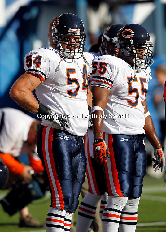 Chicago Bears linebackers Brian Urlacher (54) and Lance Briggs (55) participate in pregame warmups during a NFL week 1 preseason football game against the San Diego Chargers, Saturday, August 14, 2010 in San Diego, California. The Chargers won the game 25-10. (©Paul Anthony Spinelli)