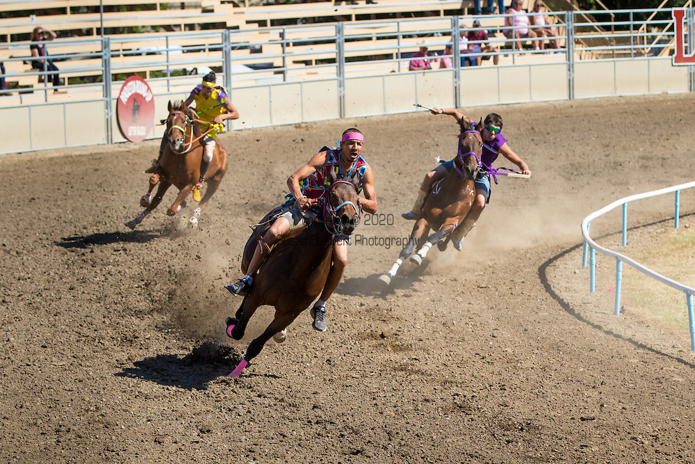 """The Native American or """"Indian"""" Relay race at the Pendleton Round Up Rodeo, Pendleton OR, USA"""