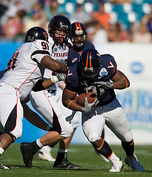 Virginia fullback Rashawn Jackson (31) carries the ball.  The Texas Tech Red Raiders defeated the Virginia Cavaliers 31-28 in the 2008 Konica Menolta Gator Bowl held at the Jacksonville Municipal Stadium in Jacksonville, FL on January 1, 2008.