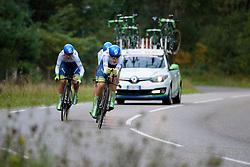 Orica AIS with Tayler Wiles at the head of the train at the 26.4 km Stage 2 Team Time Trial of the Boels Ladies Tour 2016 on 31st August 2016 in Gennep, Netherlands. (Photo by Sean Robinson/Velofocus).