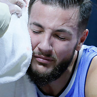 02 October 2015: Denver Nuggets forward Joffrey Lauvergne (77) looks in pain during the Los Angeles Clippers 103-96 victory over the Denver Nuggets, in a preseason game, at the Staples Center, Los Angeles, California, USA.