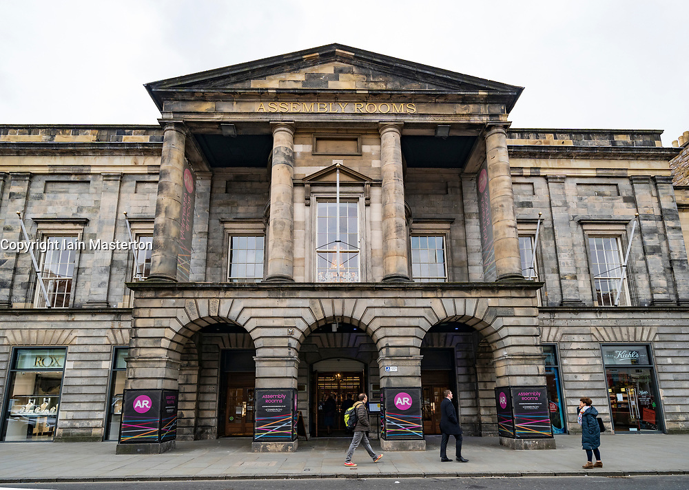 Exterior of the Assembly Rooms arts venue on George Street in Edinburgh, Scotland UK