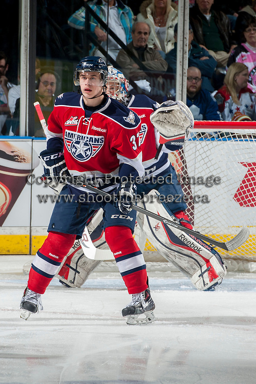 KELOWNA, CANADA - MARCH 28: Parker Wotherspoon #37 of the Tri-City Americans stands on the ice against the Kelowna Rockets on March 28, 2014 during game 5 of the first round of WHL Playoffs at Prospera Place in Kelowna, British Columbia, Canada.   (Photo by Marissa Baecker/Getty Images)  *** Local Caption *** Parker Wotherspoon;
