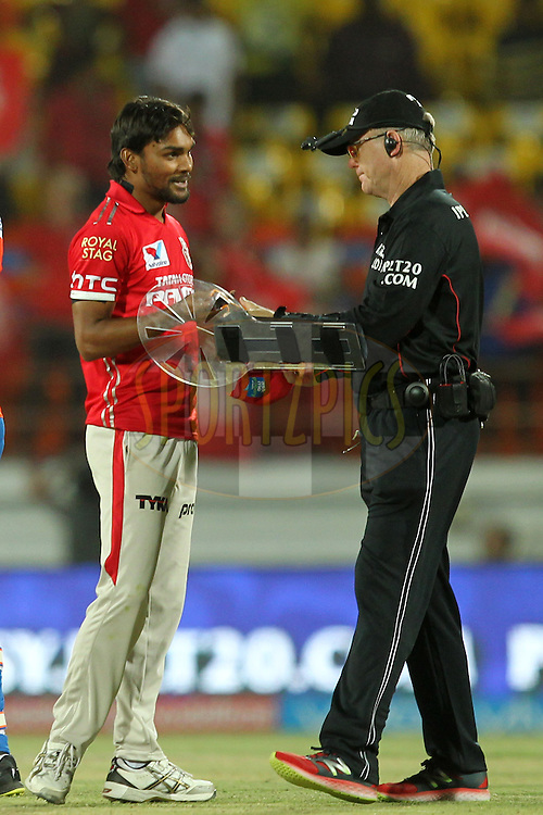 Sandeep Sharma of  Kings XI Punjab during match 28 of the Vivo IPL 2016 ( Indian Premier League ) between the Gujarat Lions and the Kings XI Punjab held at Saurashtra Cricket Association Stadium, Rajkot, India on the 1st May 2016Photo by Prashant Bhoot / IPL/ SPORTZPICS