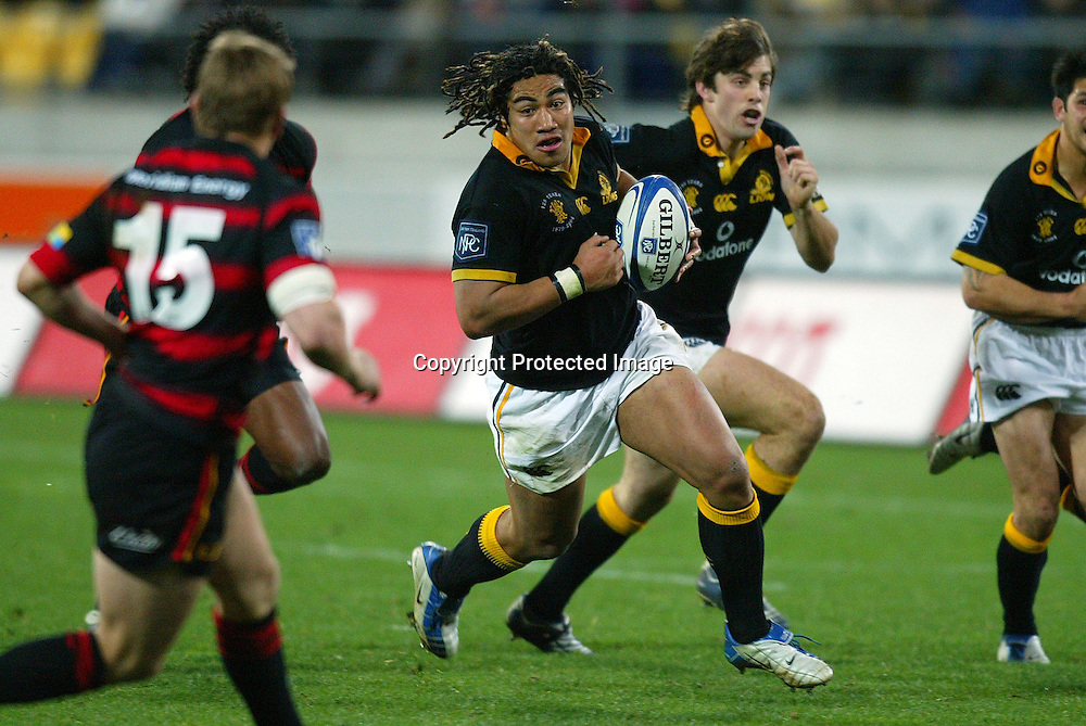 13 August 2004, Westpac Stadium, Wellington, <br /> New Zealand, Rugby Union, NPC Div 1<br /> Wellington Lions vs Canterbury<br /> Lion's Ma'a Nonu during Wellington's 34-22 win over Canterbury on Friday night.<br /> Please Credit: Marty Melville/Photosport