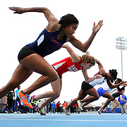 High School athletes at the start of the 100m race during the 2013 NYC Mayor's Cup Outdoor Track and Field Championships at Icahn Stadium, Randall's Island, New York USA.13th April 2013 Photo Tim Clayton