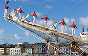 Members of the Columbian tall Ship Gloria pictured on the masts in Waterford at the Tall Ships Festival..Picture Dylan Vaughan
