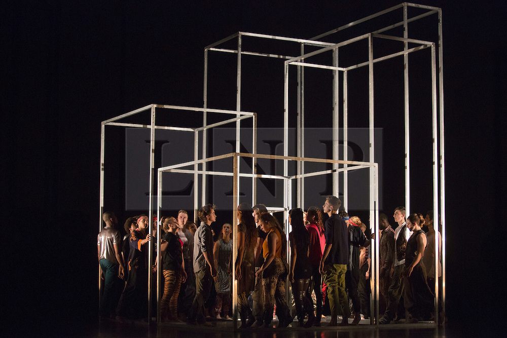 © Licensed to London News Pictures. 03/09/2015. London, UK. Frame[d] choreographed by Sidi Larbi Cherkaoui. 125 young dancers perform at the new annual Apex Rising Festival at Sadler's Wells organised by the National Youth Dance Company. Photo credit : Bettina Strenske/LNP