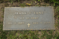 31 August 2017:   Veterans graves in Park Hill Cemetery in eastern McLean County.<br /> <br /> Frank F Lane Sergeant US Army  Jul 6 1885  Dec 6 1939