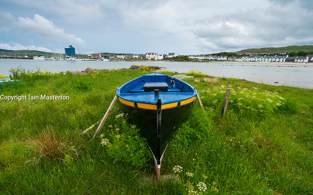 View of boat on shore at Port Ellen on Islay in Inner Hebrides , Scotland, UK