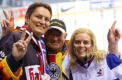 Fans of Germany and Slovakia after the ice-hockey match between Slovakia and Germany of Group A of IIHF 2011 World Championship Slovakia, on May 1, 2011 in Orange Arena, Bratislava, Slovakia. Germany defeated Slovakia 4-3. (Photo By Vid Ponikvar / Sportida.com)