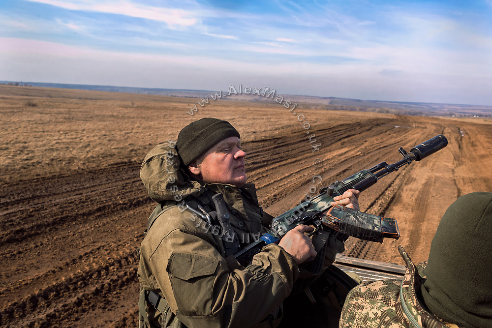 The Commander of the 54th Mechanised Brigade of the Ukrainian army is riding a BMP (infantry fighting vehicle) in Myronivs'kyi, in order to reach his positions on the frontline with pro-Russia separatists.