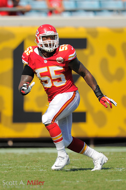 Kansas City Chiefs outside linebacker Akeem Jordan (55) during the Chiefs 28-2 win over the Jacksonville Jaguars at EverBank Field on Sept. 8, 2013 in Jacksonville, Florida. The <br /> <br /> &copy;2013 Scott A. Miller
