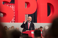 19 MAR 2017, BERLIN/GERMANY:<br /> Martin Schulz, SPD, haelt seine Rede vor seiner Wahl zum SPD Parteivorsitzenden und SPD Spitzenkandidat der Bundestagswahl, a.o. Bundesparteitag, Arena Berlin<br /> IMAGE: 20170319-01-031<br /> KEYWORDS: party congress, social democratic party, candidate, speech