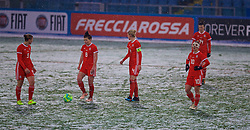 CESENA, ITALY - Tuesday, January 22, 2019: Wales players look dejected as Italy score the opening goal during the International Friendly between Italy and Wales at the Stadio Dino Manuzzi. Emma Jones, Angharad James, captain Sophie Ingle and Jessica Fishlock. (Pic by David Rawcliffe/Propaganda)