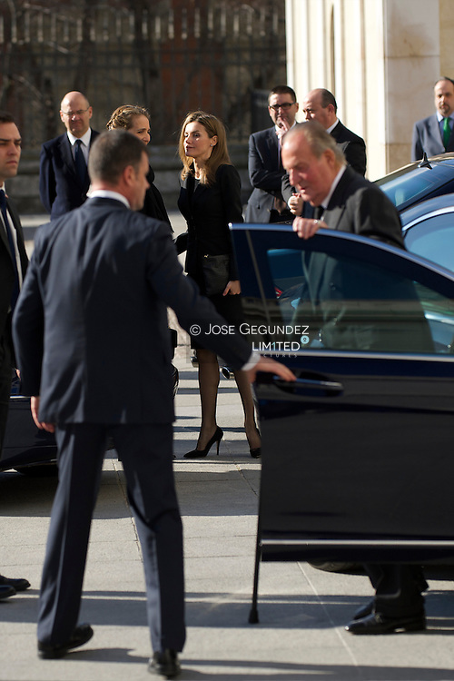 King Juan Carlos of Spain, Queen Sofia of Spain, Princess Letizia of Spain and Princess Elena of Spain attend Solemn Mass honoring and remembering the victims of the 10th annivrsary of the terrorist attacks of March 11, 2004 at Almudena Cathedral on March 11, 2014 in Madrid
