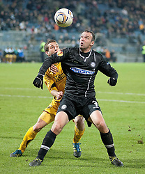 14.12.2011, UPC Arena, Graz, AUT, UEFA Europa League , Sturm Graz vs AEK Athen FC, im Bild Sokratis Tsoukalas (AEK Athen FC, Defender, #92) und Mario Haas (SK Puntigamer Sturm Graz, #7) // during UEFA Europa League football game between Sturm Graz and AEK Athens FC at UPC Arena in Graz, Austria on 14/12/2011. EXPA Pictures © 2011, PhotoCredit: EXPA/ E. Scheriau