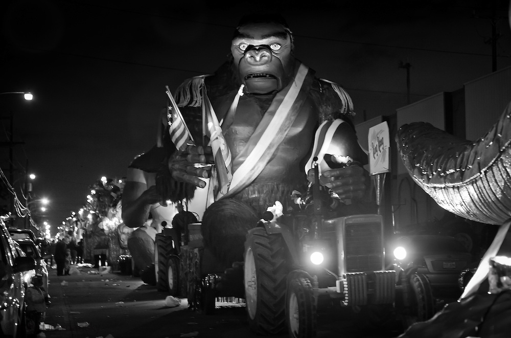 New Orleans, Louisiana, Feb 19, 2012, Float with a giant gorilla on it in the line of floats for the Bacchus Mardi Gras Parade in New Orleans.