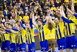 Players of RK Celje Pivovarna Lasko celebrate after handball match between RK Celje Pivovarna Lasko (SLO) and Rhein-Neckar Lowen (GER) in Group phase of EHF Men's Champions League 2016/17, on March 2, 2017 in Arena Zlatorog, Celje, Slovenia. Photo by Urban Urbanc / Sportida