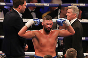 Tony Bellew celebrates after his victory at the O2 Arena, London, United Kingdom on 5 May 2018. Picture by Phil Duncan.