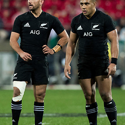 Aaron Cruden Ngani Laumape during game 9 of the British and Irish Lions 2017 Tour of New Zealand, the second Test match between  The All Blacks and British and Irish Lions, Westpac Stadium, Wellington, Saturday 1st July 2017<br /> (Photo by Kevin Booth Steve Haag Sports)<br /> <br /> Images for social media must have consent from Steve Haag