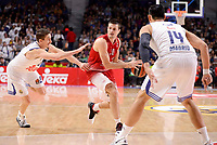 Real Madrid's Jaycee Carroll and Gustavo Ayon and EA7 Emporio Armani Milan's Andrea Cinciarini during Turkish Airlines Euroleage match between Real Madrid and EA7 Emporio Armani Milan at Wizink Center in Madrid, Spain. January 27, 2017. (ALTERPHOTOS/BorjaB.Hojas)