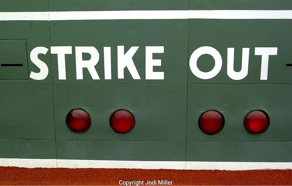 Scoreboard at Fenway Park.