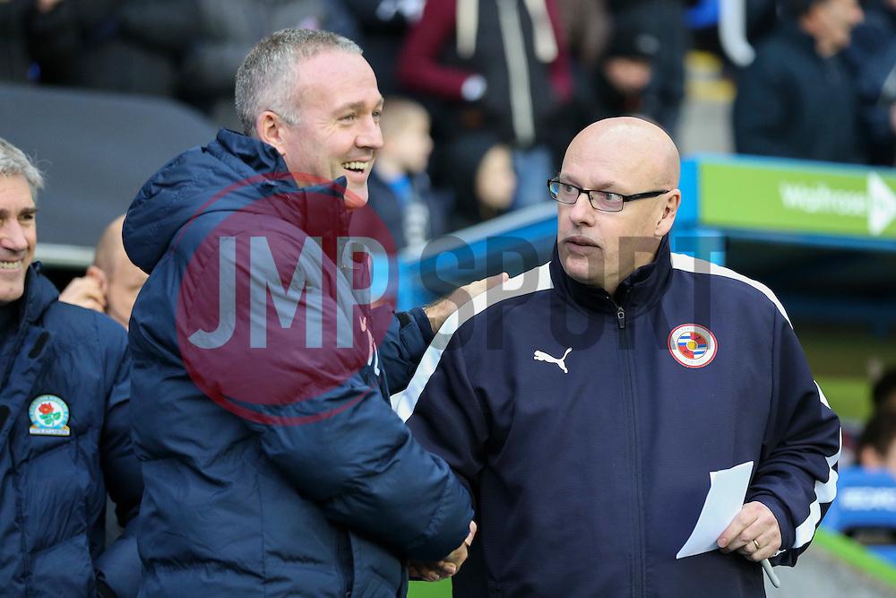 Blackburn Rovers Manager Gary Bowyer greats Reading Manager Brian McDermott - Mandatory byline: Jason Brown/JMP - 07966 386802 - 20/12/2015- FOOTBALL - Madejski Stadium - Reading, England - Reading v Blackburn Rovers - Sky Bet Championship
