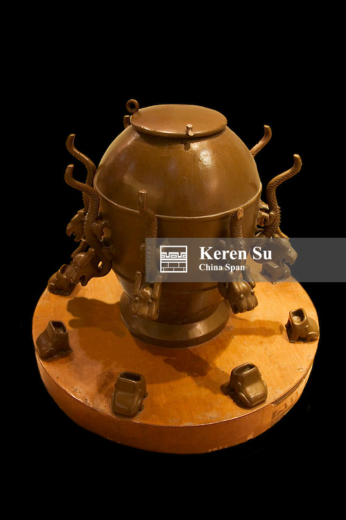 Ancient Chinese seismograph invented by scientist Zhang Heng, China