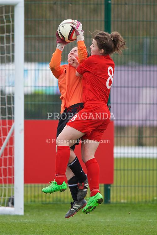 NEWPORT, WALES - Monday, April 4, 2016: England's Jodie Hutton and Republic of Ireland's goalkeeper Rachael Kelly during the Final on day four of the Bob Docherty International Tournament 2016 at Dragon Park. (Pic by David Rawcliffe/Propaganda)