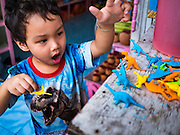 05 JANUARY 2017 - BANGKOK, THAILAND:       A child who lives in the Pom Mahakan slum community plays with his toy dinosaurs. More than 40 families still live in the Pom Mahakan Fort community. Bangkok officials are trying to move them out of the fort and community leaders are barricading themselves in the fort. The residents of the historic fort are joined almost every day by community activists from around Bangkok who support their efforts to stay. City officials pushed back their deadline and now say that they expect to have the old fort cleared of residents and construction on the new park started by the end of February 2017.      PHOTO BY JACK KURTZ