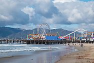 Photo Santa Monica beach wall art. Pier, ferris wheel, ocean, clouds, waves. Los Angeles, Westside, Southern California ocean landscape photography. Matted print, limited edition. Fine art photography print.