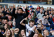 Middlesbrough fans celebrating the second goal scored by Britt Assombalonga of Middlesbrough during the EFL Sky Bet Championship match between Bolton Wanderers and Middlesbrough at the Macron Stadium, Bolton, England on 9 September 2017. Photo by Paul Thompson.