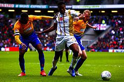 Krystian Pearce of Mansfield Town puts pressure on Chuks Aneke of Milton Keynes Dons - Mandatory by-line: Ryan Crockett/JMP - 04/05/2019 - FOOTBALL - Stadium MK - Milton Keynes, England - Milton Keynes Dons v Mansfield Town - Sky Bet League One