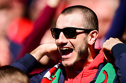 A welsh fan celebrates after Daniel James of Wales scores his sides first goal of the game  - Mandatory by-line: Ryan Hiscott/JMP - 24/03/2019 - FOOTBALL - Cardiff City Stadium - Cardiff, United Kingdom - Wales v Slovakia - UEFA EURO 2020 Qualifier