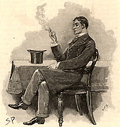 The Adventure of the Musgrave Ritual'. Reginald Musgrave, a college friend of Holmes, asking for help in clearing up the mystery of the disappearance of his butler. From 'The Adventures of Sherlock Holmes' by Conan Doyle from 'The Strand Magazine' (London, 1893). Illustration by Sidney E Paget, the first artist to draw Sherlock Holmes.  Engraving.