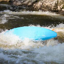 Whitewater kayaking Zoar Rapid on the Deerfield River in Charlemont, Massachusetts.