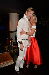 Henry Conway and Laura Hamilton at the Quaglino's Q Legends Summer Launch Party hosted by Henry Conway at Quaglino's, 16 Bury Street, London England. 18 July 2017.<br /> Photo by Dominic O'Neill/SilverHub 0203 174 1069 sales@silverhubmedia.com