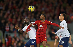 LIVERPOOL, ENGLAND - Sunday, October 27, 2019: Tottenham Hotspur's Moussa Sissoko (L) challenges Liverpool's Georginio Wijnaldum during the FA Premier League match between Liverpool FC and Tottenham Hotspur FC at Anfield. (Pic by David Rawcliffe/Propaganda)
