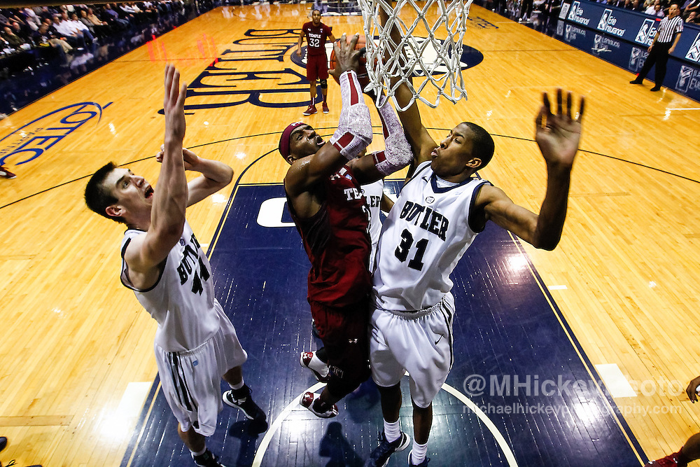 INDIANAPOLIS, IN - JANUARY 26: Anthony Lee #3 of the Temple Owls goes up to shoot the ball against Kameron Woods #31 of the Butler Bulldogs at Hinkle Fieldhouse on January 26, 2013 in Indianapolis, Indiana. Butler defeated Temple 83-71. (Photo by Michael Hickey/Getty Images) *** Local Caption *** Anthony Lee; Kameron Woods