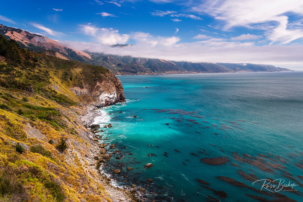 Isolated beach and rocky shore on the Big Sur Coast, Los Padres National Forest, California