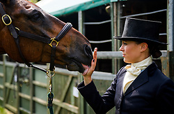 © London News Pictures. 12/05/2016. Windsor, UK. POLLYANNA GREELEY with her horse CONAN, on The first day of the 2016 Royal Windsor Horse Show, held in the grounds of Windsor Castle in Berkshire, England. The opening day of the event was cancelled due to heavy rain and waterlogged grounds. This years event is part of HRH Queen Elizabeth II's 90th birthday celebrations.  Photo credit: Ben Cawthra/LNP