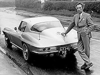 Clancey McDermott, N Ireland-based scout for English soccer clubs. October 1966. Manager, Bangor FC, 1962-1964. He is picture with his left-hand drive Corvette Stingray. 196609000037<br /> <br /> Copyright Image from Victor Patterson, 54 Dorchester Park, Belfast, UK, BT9 6RJ<br /> <br /> Tel: +44 28 9066 1296<br /> Mob: +44 7802 353836<br /> Voicemail +44 20 8816 7153<br /> Email: victorpatterson@me.com<br /> Email: victorpatterson@gmail.com<br /> <br /> IMPORTANT: My Terms and Conditions of Business are at www.victorpatterson.com