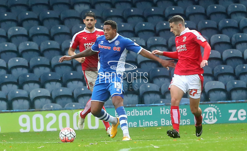 Bradley Barry, Nathaniel Mendez-Laing during the The FA Cup match between Rochdale and Swindon Town at Spotland, Rochdale, England on 7 November 2015. Photo by Daniel Youngs.